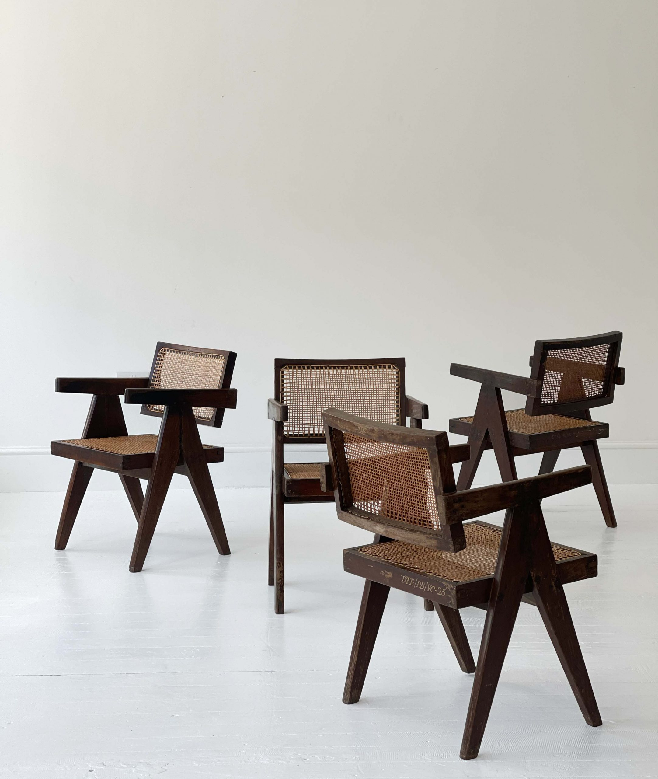 """Pierre Jeanneret """"floating back"""" chairs"""